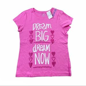 PLACE Girls Pink Graphic Short Sleeve Top Size M